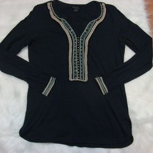 Lucky Brand Embroidered Embellished Blouse